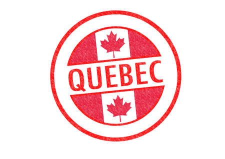 Passport-style QUEBEC rubber stamp over a white background. photo