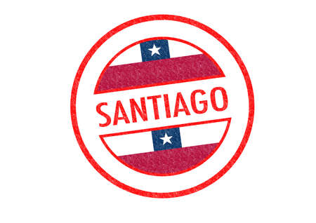 Passport-style SANTIAGO rubber stamp over a white background. photo