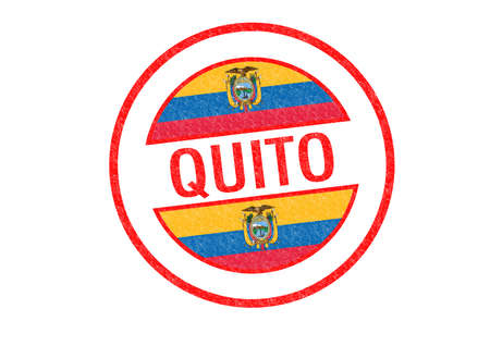 Passport-style QUITO rubber stamp over a white background. photo