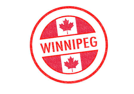 Passport-style WINNIPEG rubber stamp over a white background. photo