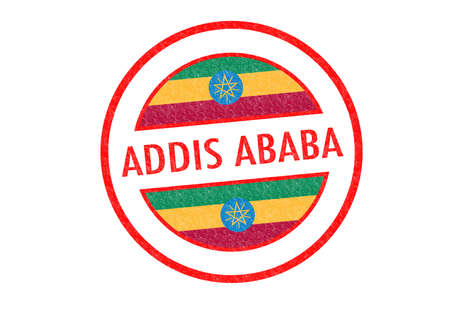 Passport-style ADDIS ABABA  capital of Ethopia  rubber stamp over a white background  photo