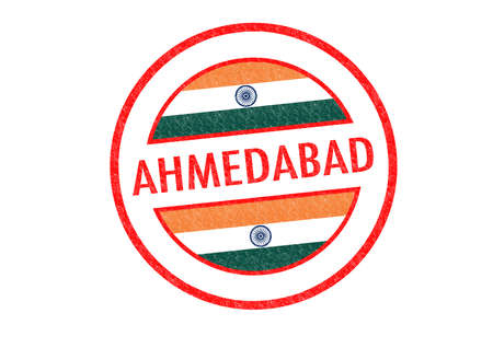 Passport-style AHMEDABAD  India  rubber stamp over a white background  photo