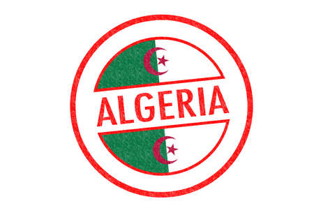 Passport-style ALGERIA rubber stamp over a white background  photo