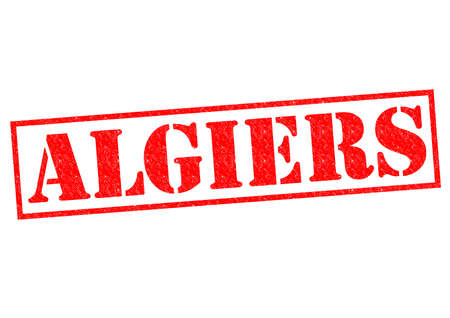 ALGIERS (capital of Algeria) Rubber Stamp over a white background. photo