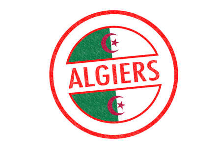 Passport-style ALGIERS (capital of Algeria) rubber stamp over a white background. photo