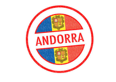 tourism in andorra: Passport-style ANDORRA rubber stamp over a white background.