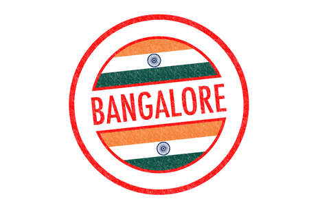 Passport-style BANGALORE (India) rubber stamp over a white background. photo