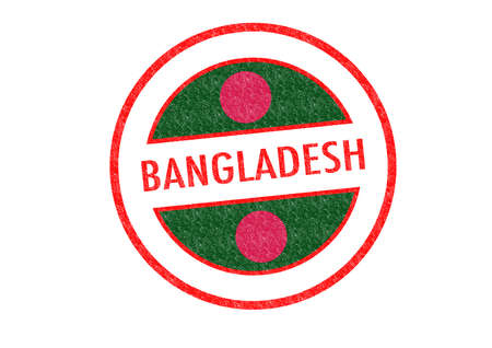 Passport-style BANGLADESH rubber stamp over a white background. photo
