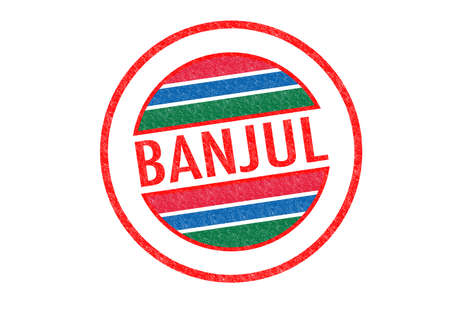 Passport-style BANJUL (capital of Gambia) rubber stamp over a white background. photo