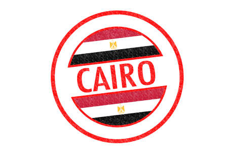 Passport-style CAIRO (Egypt) rubber stamp over a white background. photo
