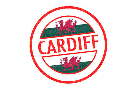 Passport-style CARDIFF (Wales) rubber stamp over a white background. photo