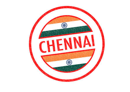 Passport-style CHENNAI (India) rubber stamp over a white background. photo