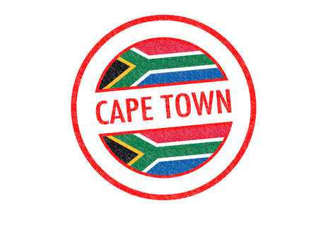 Passport-style CAPE TOWN (South Africa) rubber stamp over a white background. photo