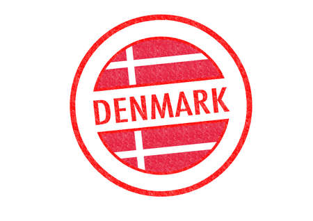 Passport-style DENMARK rubber stamp over a white background. photo