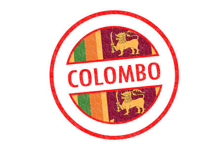 Passport-style COLOMBO (Sri Lanka) rubber stamp over a white background. photo