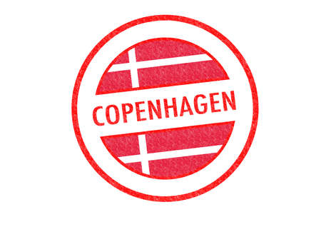 Passport-style COPENHAGEN (Denmark) rubber stamp over a white background. photo