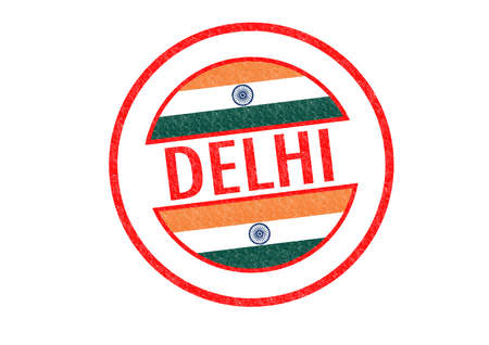 Passport-style DELHI (India) rubber stamp over a white background. photo