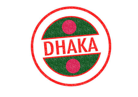Passport-style DHAKA (capital of Bangladesh) rubber stamp over a white background. photo