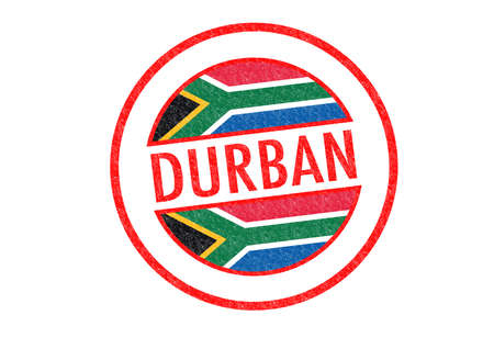 Passport-style DURBAN (South Africa) rubber stamp over a white background. photo