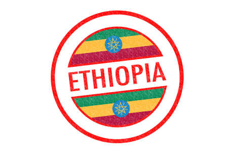 Passport-style ETHIOPIA rubber stamp over a white background. photo