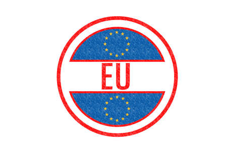 made in portugal: EU (EUROPEAN UNION) Rubber stamp over a white background.