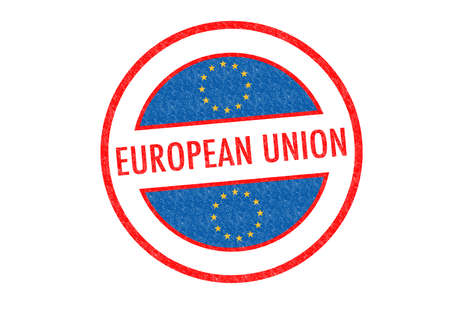 Passport-style EUROPEAN UNION rubber stamp over a white background. photo