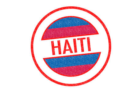 Passport-style HAITI rubber stamp over a white background. photo
