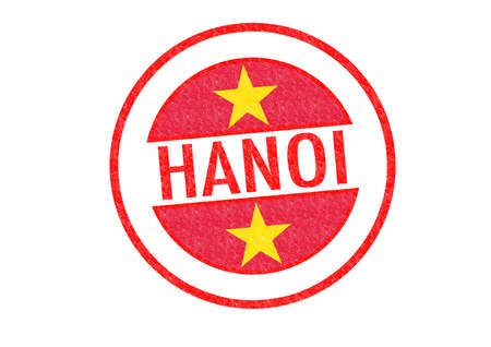 Passport-style HANOI (capital of Vietnam) rubber stamp over a white background. photo