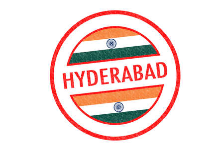 Passport-style HYDERABAD (India) rubber stamp over a white background. photo
