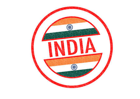 Passport-style INDIA rubber stamp over a white background. photo