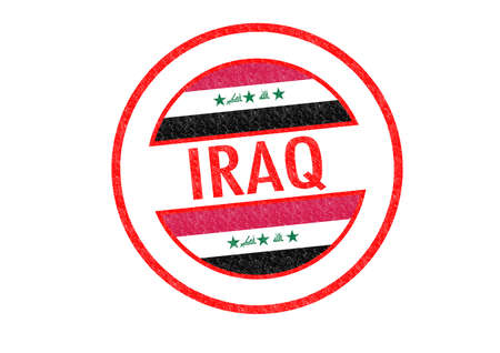 Passport-style IRAQ rubber stamp over a white background. photo