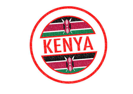 Passport-style KENYA rubber stamp over a white background. photo