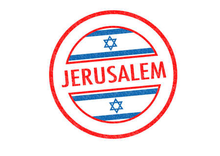 israel passport: Passport-style JERUSALEM (capital of Israel) rubber stamp over a white background.