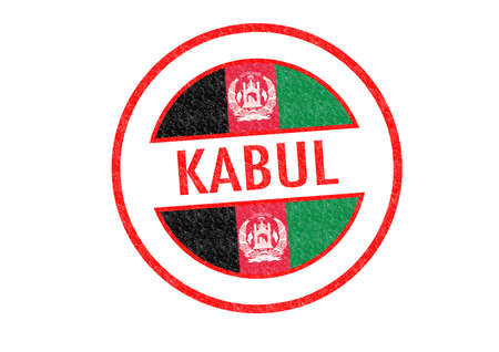 Passport-style KABUL (Afghanistan) rubber stamp over a white background. photo