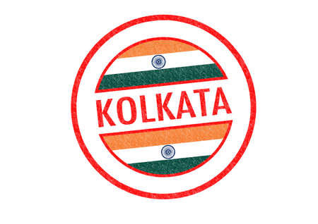 Passport-style KOLKATA (India) rubber stamp over a white background. photo