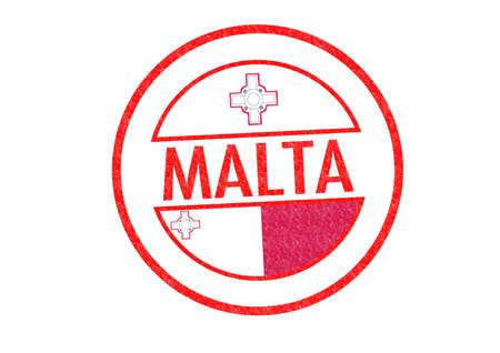 malta cities: Passport-style MALTA rubber stamp over a white background. Stock Photo