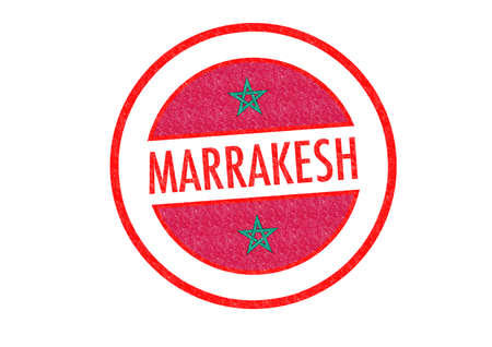 Passport-style MARRAKESH (Morocco) rubber stamp over a white background. photo