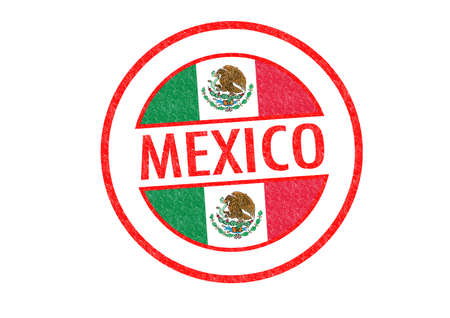 mexico city: Passport-style MEXICO rubber stamp over a white background.