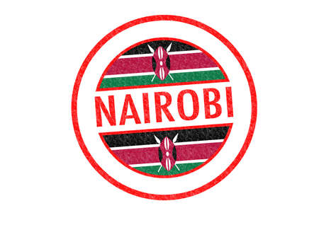 Passport-style NAIROBI (capital of Kenya) rubber stamp over a white background. photo