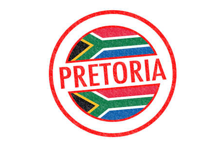 gauteng: Passport-style PRETORIA (South Africa) rubber stamp over a white background.