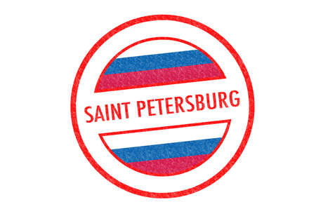 Passport-style SAINT PETERSBURG rubber stamp over a white background. photo