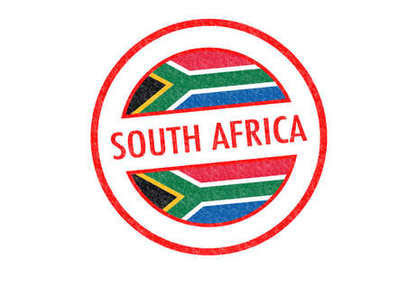 johannesburg: Passport-style SOUTH AFRICA rubber stamp over a white background. Stock Photo