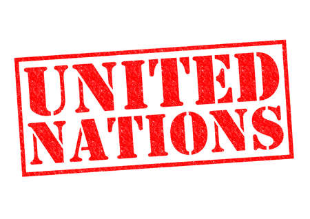 nazioni unite: NAZIONI UNITE Rubber stamp su uno sfondo bianco.