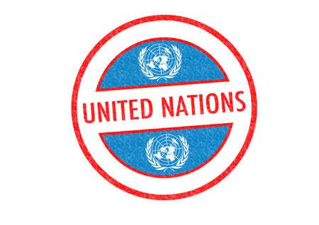 nazioni unite: Passport stile NAZIONI UNITE timbro di gomma su uno sfondo bianco.