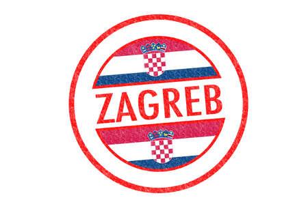 Passport-style ZAGREB (Croatia) rubber stamp over a white background. photo