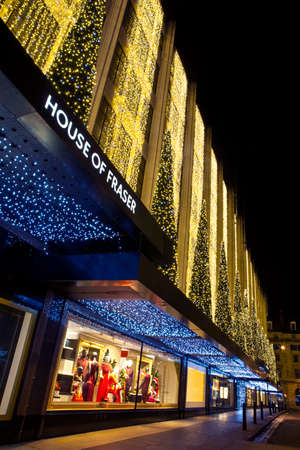 LONDON, UK - DEC 1ST 2013: The beautifully-lit House of Fraser store on Oxford Street during the Christmas period in London on 1st December 2013. Stock Photo - 24269335