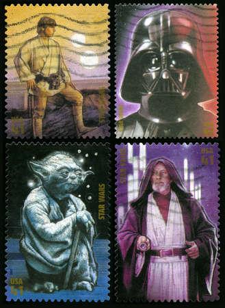 ルーク: アメリカ合衆国 - 2007年年頃: 4 つの米国郵便切手 2007年年頃 (ルークスカイウォーカー、ダースベイダー、ヨーダ、オビ = ワンケノービ) スター ・ ウォーズ映画から文字を描いた。