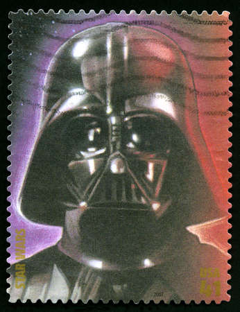 postage stamp: UNITED STATES - CIRCA 2007: A US postage stamp depicting an illustration of Star Wars character Darth Vader, circa 2007.