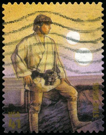 star wars: UNITED STATES - CIRCA 2007: US Postage stamp depicting the Star Wars character Luke Skywalker, circa 2007.