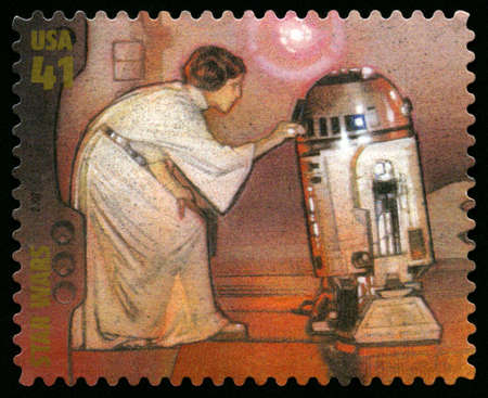 star wars: UNITED STATES - CIRCA 2007: US Postage stamp depicting the Star Wars characters Princess Leia and R2D2, circa 2007.